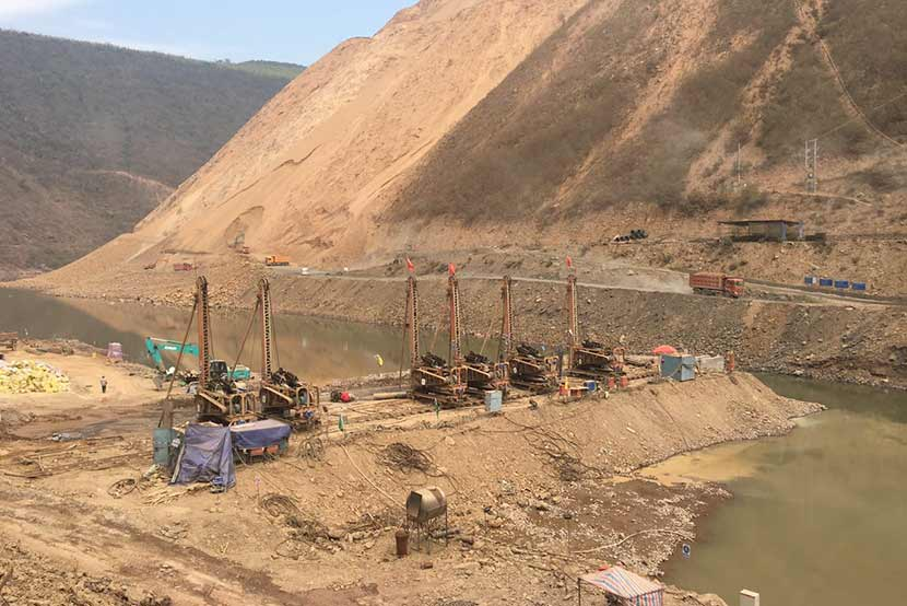 Hydropower station being constructed on a river
